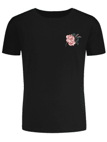 Camiseta Bordada Floral De Manga Corta - Negro M