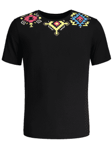 Camiseta Con Estampado Geométrico - Negro M