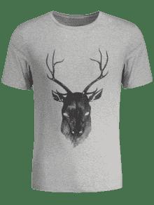 Camiseta Con Reno De Manga Corta Impresa - Gris L
