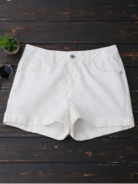 Pantalones cortos con dobladillo casual - Blanco XL