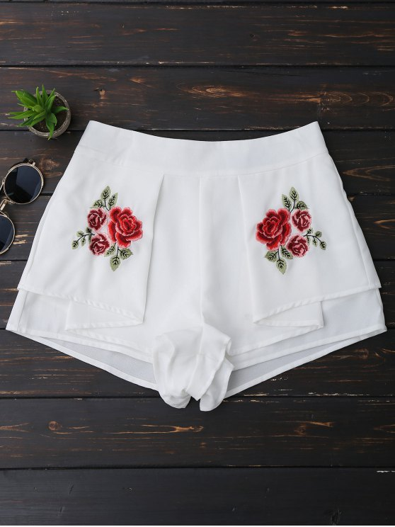 women Layered Floral Embroidered Shorts - WHITE L