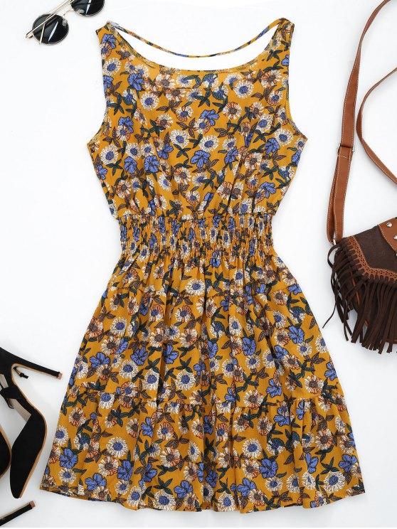 فستان الشمس حزام مقدمة زهري - المغرة الصفراء XL