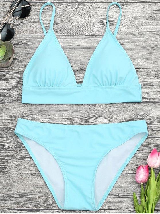 Camisole acolchado Cami Midi Bikini Top y partes inferiores - Turquesa M