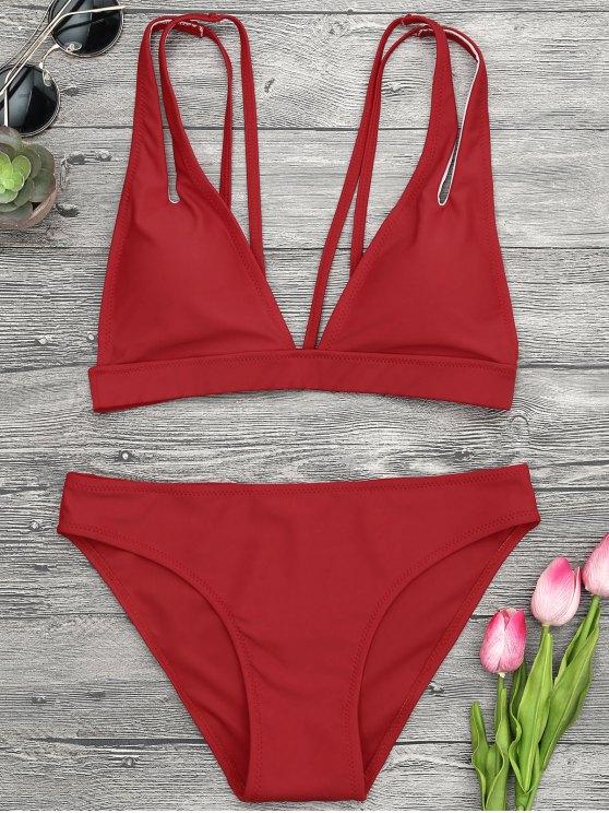 Traje de Bikini de Tirantes con Escote Pico - Rojo L