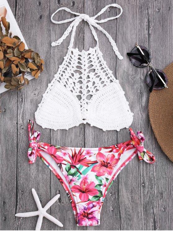 Parte superior de ganchillo y pantalones de bikini atados florales - Blanco M