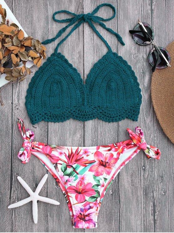 online Tied Bralette Floral Crochet Bikini Set - BLACKISH GREEN S