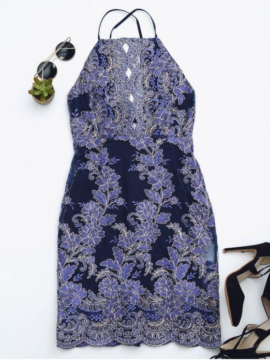 Robe de plage miniature brodée Bodycon - Bleu Royal L