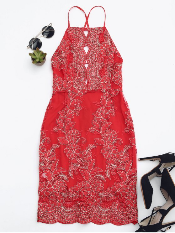 womens Embroidered Bodycon Mini Beach Dress - RED S