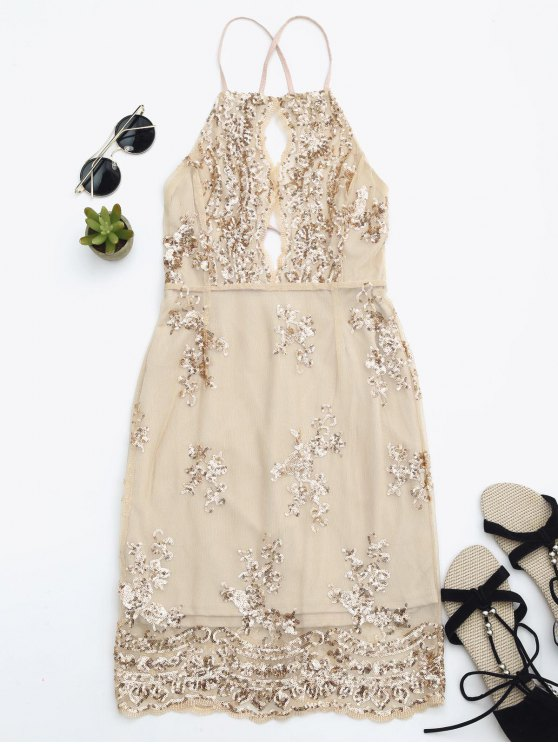 lady Sequins Apron Neck Beach Dress - YELLOWISH PINK S