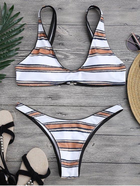 Ensemble de bikini à rayures à coupe rapide - Blanc S
