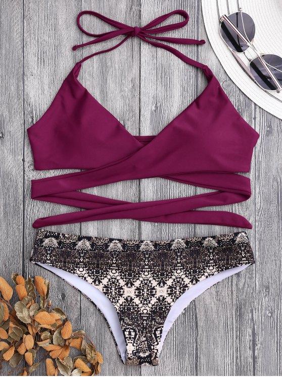 Bikini recubierto de estampado de impresión retro - Burdeos L