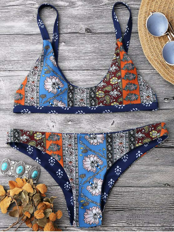 Patchwork Imprimir Conjunto de bikini de cucharada Bralette - Floral L