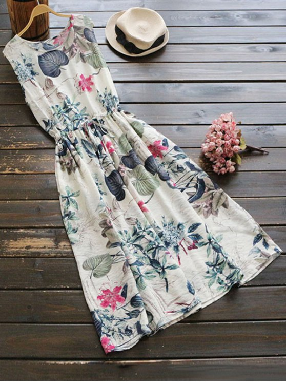 chic Sleeveless Drawstring Floral Midi Dress - FLORAL ONE SIZE