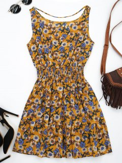 Front Strap Floral Sundress - Yellow Ocher S