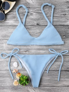 Textured Tie Side String Scoop Bikini Set - Light Blue S