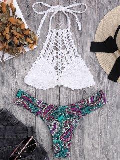 Bralette Crochet Top And Paisley Bandage Bikini Bottoms - White M