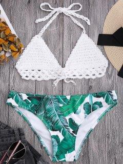 Bralette Crochet Top And Leaf Print Bikini Bottoms - White M