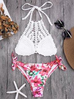 Top En Crochet Et Bas De Bikini à Motifs Floraux - Blanc S