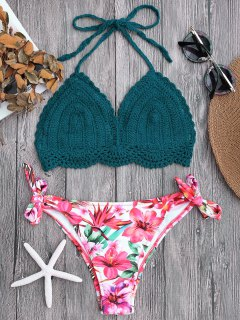 Tied Bralette Floral Crochet Bikini Set - Blackish Green S