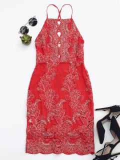 Embroidered Bodycon Mini Beach Dress - Red Xl