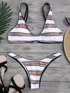 Striped High Cut Scoop Bikini Set - White M