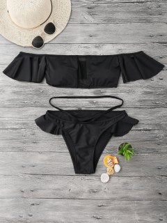 Mesh Panel Off Shoulder Ruffles Bikini - Black S