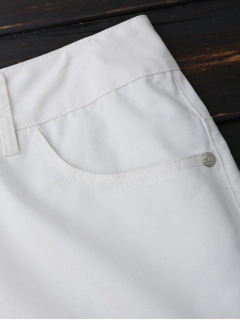 affordable Casual Hemming High Waisted Shorts - WHITE M Mobile