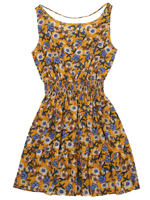 buy Front Strap Floral Sundress - YELLOW OCHER S Mobile