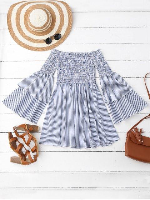 affordable Smocked Stripes Off Shoulder Mini Dress - STRIPE L Mobile