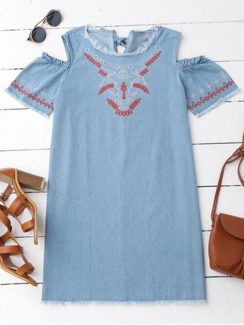 online Embroidered Cold Shoulder Denim Casual Dress - DENIM BLUE M Mobile
