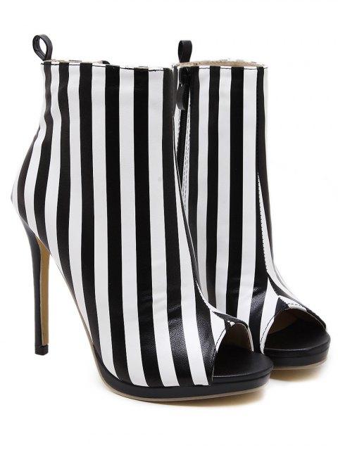 online Zipper Striped Peep Toe Ankle Boots - BLACK STRIPE 40 Mobile