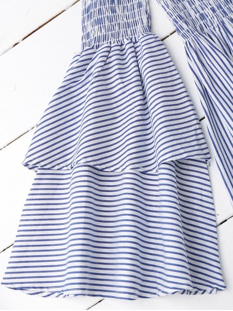 buy Smocked Stripes Off Shoulder Mini Dress - STRIPE M Mobile