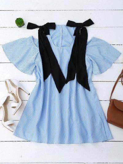 Bowknot Straps Cold Shoulder Mini Dress - Rayure S