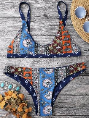 Patchwork Print Bralette Scoop Bikini Set - Floral M