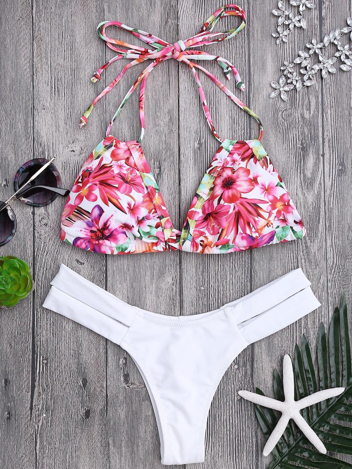 Floral Swim Top and Bandage Thong Bikini bottoms, White