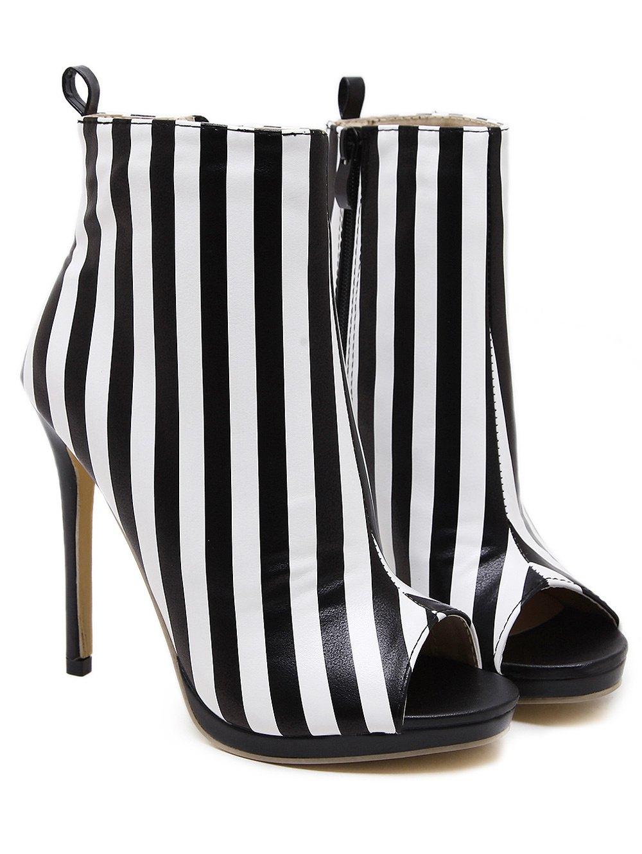 Zipper Striped Peep Toe Ankle Boots 214801301