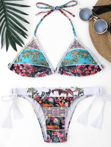 Retro Floral Thong Braided String Bikini