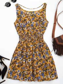 Front Strap Floral Sundress - Yellow Ocher M