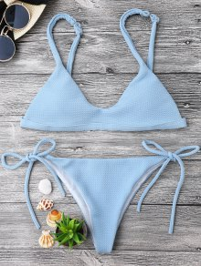 Textured Tie Side String Scoop Bikini Set