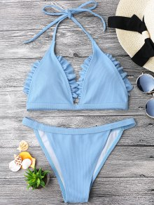 Frilled Ribbed String Bralette Bikini Set - Light Blue L