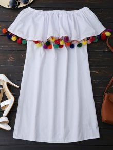 Ruffles Off Shoulder Mini Dress with Colorful Balls