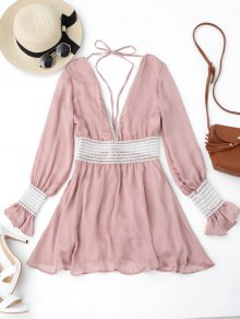 Flare Sleeve Crochet Panel Mini Dress