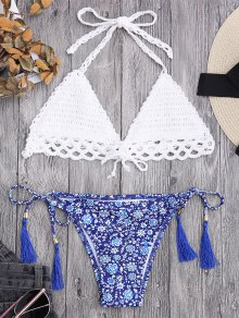 Lined Tiny Floral Crochet String Bikini - White S