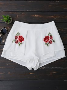 Layered Floral Embroidered Shorts