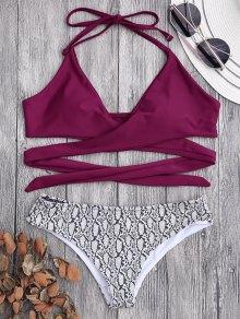 Padded Wrap Snakeskin Print Bikini - Burgundy S
