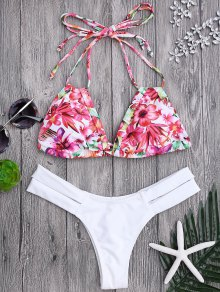 Floral Swim Top and Bandage Thong Bikini bottoms