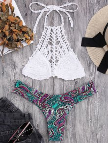 Bralette Crochet Top and Paisley Bandage Bikini Bottoms