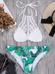 Bralette Crochet Top and Palm Tree Bikini Bottoms