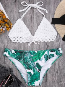 Bralette Crochet Top and Leaf Print Bikini Bottoms