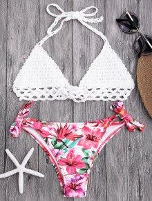 Top Brassière Crochet Et Bas De Bikini Floral à Nouer - Blanc L
